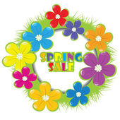 Spring sale advertising with grass and flowers — Stock Photo