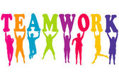 Teamwork concept with colored women and men silhouettes jumping — Stock Photo