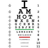 Words I am hot with optical eye test use by doctors — Stock Photo