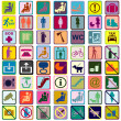 Colored signs icons used in transportation means — Stock Photo #48694673