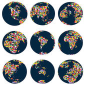 World globes with continents made of world flags — Stock Photo