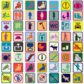 Colored signs icons used in transportation means — Stock Photo
