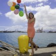 Fashionable woman with balloons — 图库照片