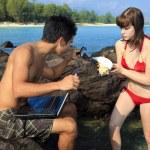 Couple at hawaiian tidepools — Stock Photo #2864389