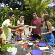 Friends having a barbecue party — Stock Photo