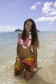 Polynesian beauty at the beach — Stock Photo