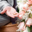 Gold wedding rings on a hand of the groom — Stock Photo