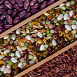 Set of beans, rice, lentils, spices for cooking in the kitchen — Stock Photo