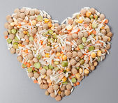 A mixture of beans and rice for cooking — Stock Photo