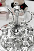 Tea set on the dining table — Stock Photo