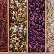 Set of beans, rice, lentils, spices for cooking in the kitchen — Stock Photo #15405339