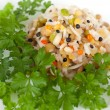Steamed rice and lentils with vegetables - Stock Photo