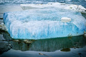 Blue ice on the river — Stock Photo