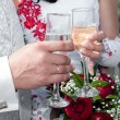 Hands of the groom and the bride — Stockfoto