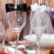 Stock Photo: Table wine glasses for wine