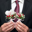 A beautiful bridal bouquet at a wedding party — Foto Stock