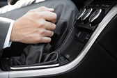 Hand of the driver of the car — Foto Stock