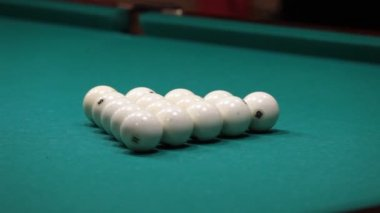 Sports game of billiards. Billiard ball rolls on the table. — Stock Video