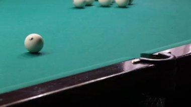 Sports game of billiards. Billiard ball rolls on the table. — Stock Video