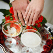 Hands of the groom and the bride with wedding rings — Stock Photo #36894603