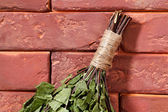 Birch broom for a bath on a stone surface. — Stock Photo