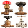 Set of old water valve isolated on a white background. — Stock Photo