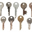 Set of old keys from door locks isolated on white background. — Stock Photo