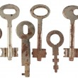 Set of old keys from door locks isolated on white background. — Stock Photo #42546133