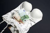 Love for money - Lingerie and money concept — Stock Photo