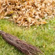 Autumn clearing - besom and a pile of leaves — Stock Photo