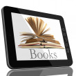 Tablet PC Computer and book - Digital Library Concept — Stock Photo #5936233