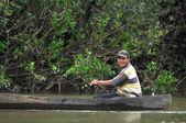 Fisherman fishing in big lake — Stock Photo