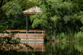 Wooden gazebo over the water — Стоковое фото
