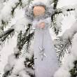 Christmas decoration in snow forest — Stock Photo