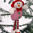 Fanny clown in winter forest — Stock Photo