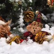 Dwarf, teddy bear and snow men under Crhistmas Three — Stock Photo