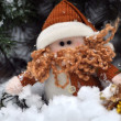 Cute Christmas dwarf in the snow — Stock Photo