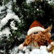 Christmas dwarf in the snow — Stock Photo