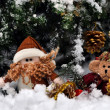 Fairy bear and dwarf meeting New Year in snow forest — Stock Photo