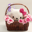 Pink roses in a basket and white kitten toy — Stock Photo