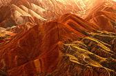 Sunset in the mountains, Zhangye danxia, China — Stock Photo