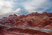 Colorful mountains in the evening light, Zhangye danxia, China — Stock Photo