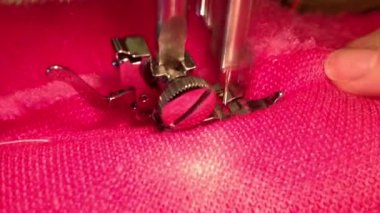Close up on sewing machine — Stock Video