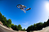 High BMX jump — Stock Photo
