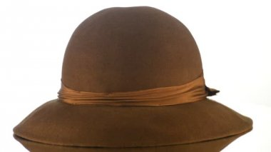 Brown vintage hat — Stock Video #12854769