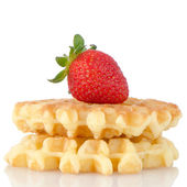 Waffles and strawberry — Stock Photo