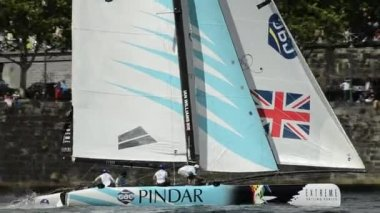 GAC Pindar compete in the Extreme Sailing Series — Stock Video
