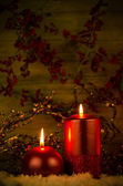 Two candles Christmas decoration — Stockfoto