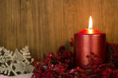 Single candles Christmas decoration — Stok fotoğraf