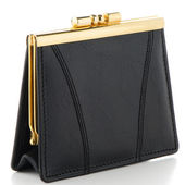 Black Leather Purse — Stock Photo